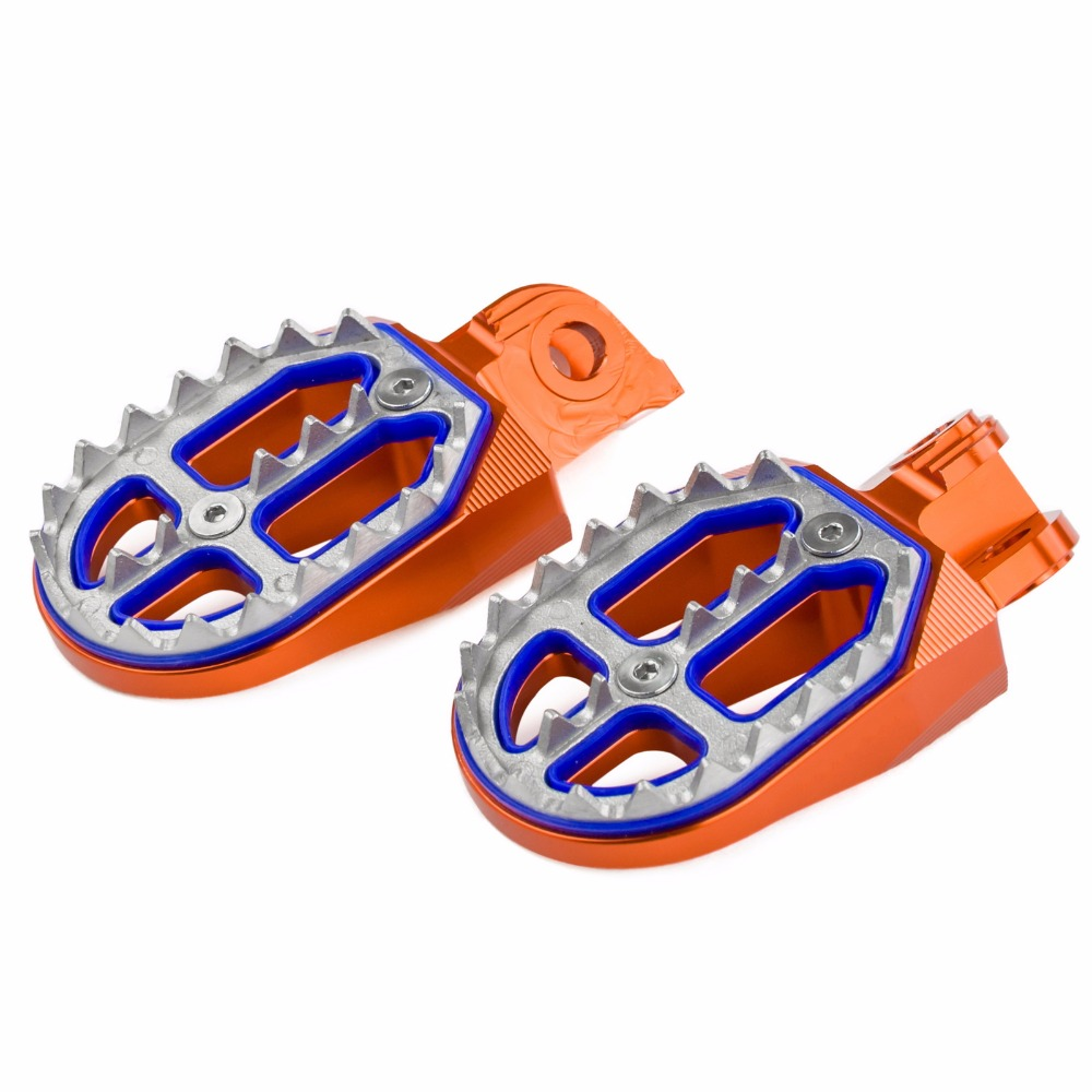 Orange Shark Tooth MX Racing Foot Pegs For KTM 125 250 350 450 525 530 EXC EXC-F XC SX SX-F