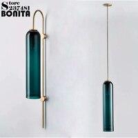 Simple long tube blue glass pendant lamp led Milky white Cylinder glass pendant lighting for restaurants modern hanging lamps