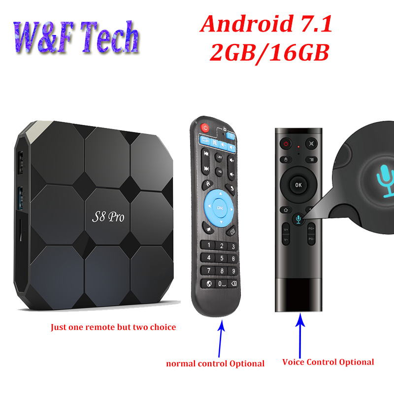 S8 Pro Android 7.1 Smart TV BOX Amlogic S905W 1 gb 8 gb 2 gb 16 gb Media Player Voice di controllo Opzionale IPTV scatola PK X96 mini TX3 mini