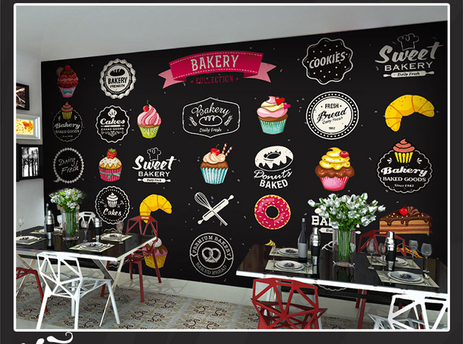 Simple Art Bakery Pizza Cupcake Patten Wall Paper Mural Rolls Size for Wall 3d Wallpaper Livingroom Restaurant Coffee Cake Shop 10m victorian country style 3d flower wallpaper background for kids room mural rolls wallpapers for livingroom wall paper decal