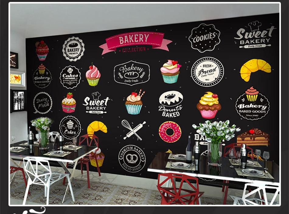 Simple Art Bakery Pizza Cupcake Patten Wall Paper Mural Rolls Size For Wall 3d Wallpaper Livingroom Restaurant Coffee Cake Shop