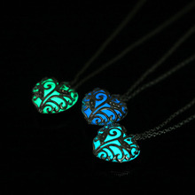 The Dark Stone Luminous Pendant Crystal Hollow Heart Pendants Necklaces