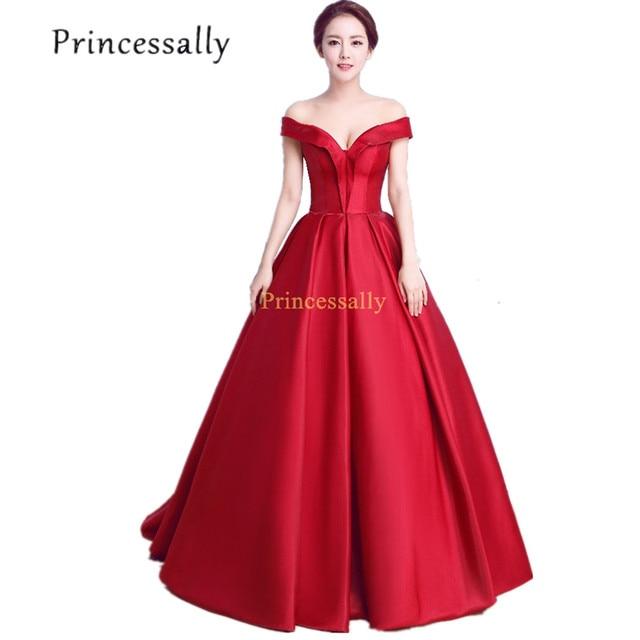 Wine Red Prom Dress Boat Neck Cap Sleeve Long Prom Dress Satin ...