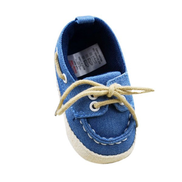 Baby Boy Girl Blue Sneakers Soft Bottom Crib Shoes Newborn to 18 Months