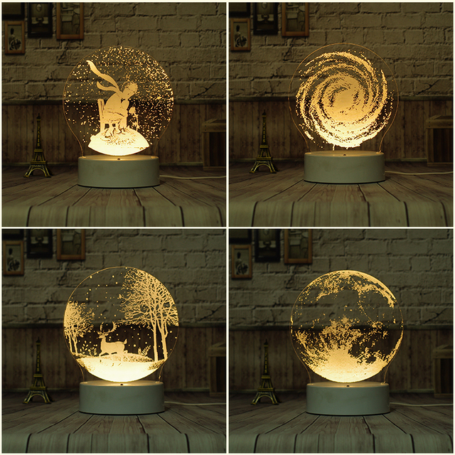 Creative DIY 3D Plug The Night Light Dream LED Bedroom Bed