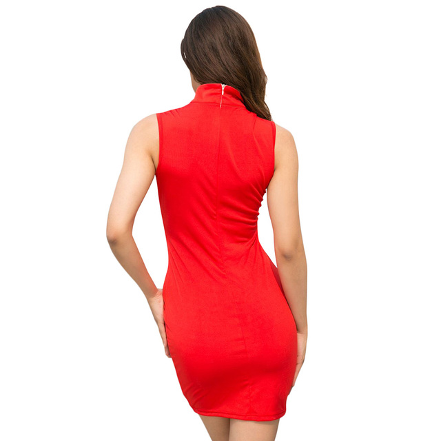 Sexy Women Bodycon Mini Dress Cutout Front High Neck Sleeveless Hollow Out Dress Solid Slim Party Vintage Dress Red/Black Ropa 3