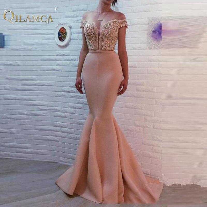 Robes de soirée longues sirène sur mesure Dubai Bling perles hors de l'épaule robe de bal robe de soirée
