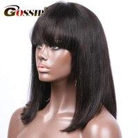Боб парик Синтетические волосы на кружеве человеческих волос парики для черный Для женщин короткие парики человеческих волос с челкой 13X6 п