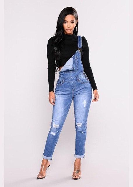 Plus Size 3XL 2018 Autumn Women Adjustable Strap  Button Pencil Overalls Pockets Jeans Rompers Blue Long  Hole Denim Jumpsuits