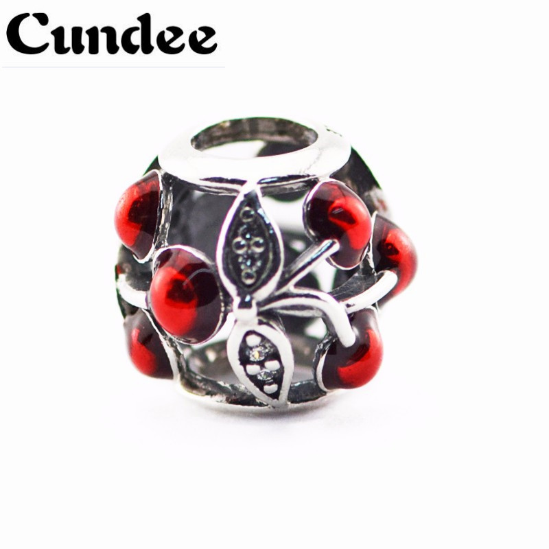 Sweet Cherries Charms Fits Europe Bracelets Red Enamel&Clear CZ Charms 925 Sterling Silver Beads For DIY Jewelry