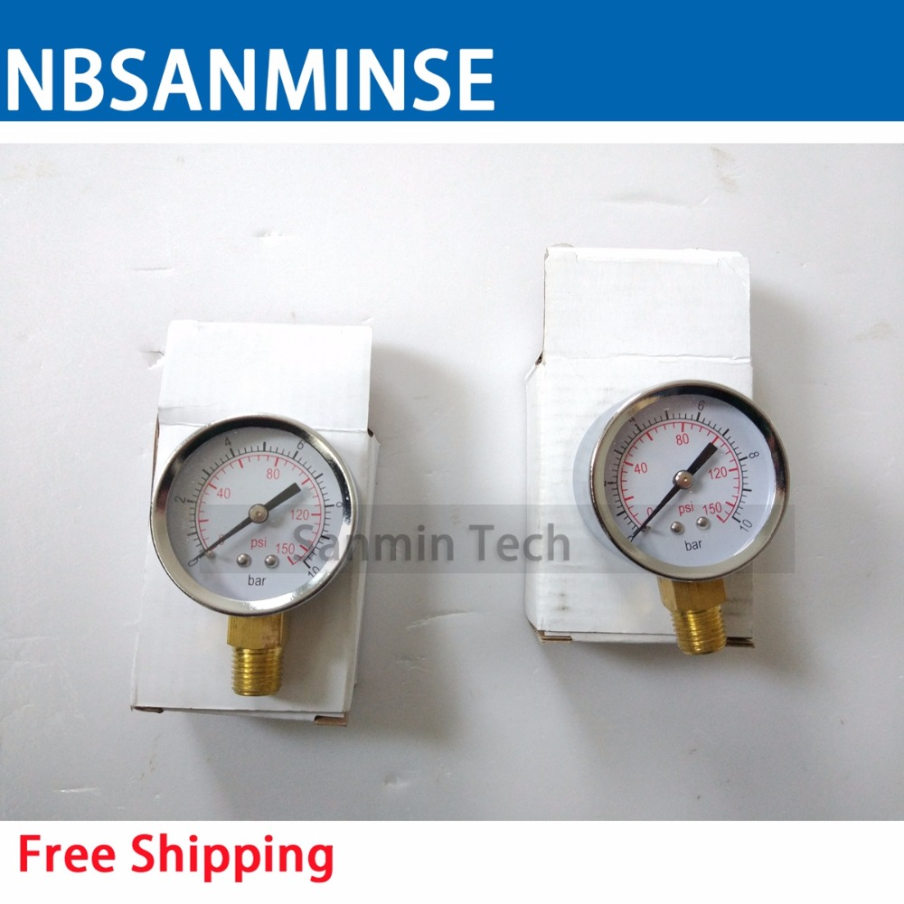 Compressor Air Pneumatic Gauge 1/4 G / NPT 2  inch 50mm Metal Pressure Gauge Sanmin10Bar 150 Psi y 150 150mm radial mount 0 1 25mpa air compressor pressure gauge dial diam pneumatic
