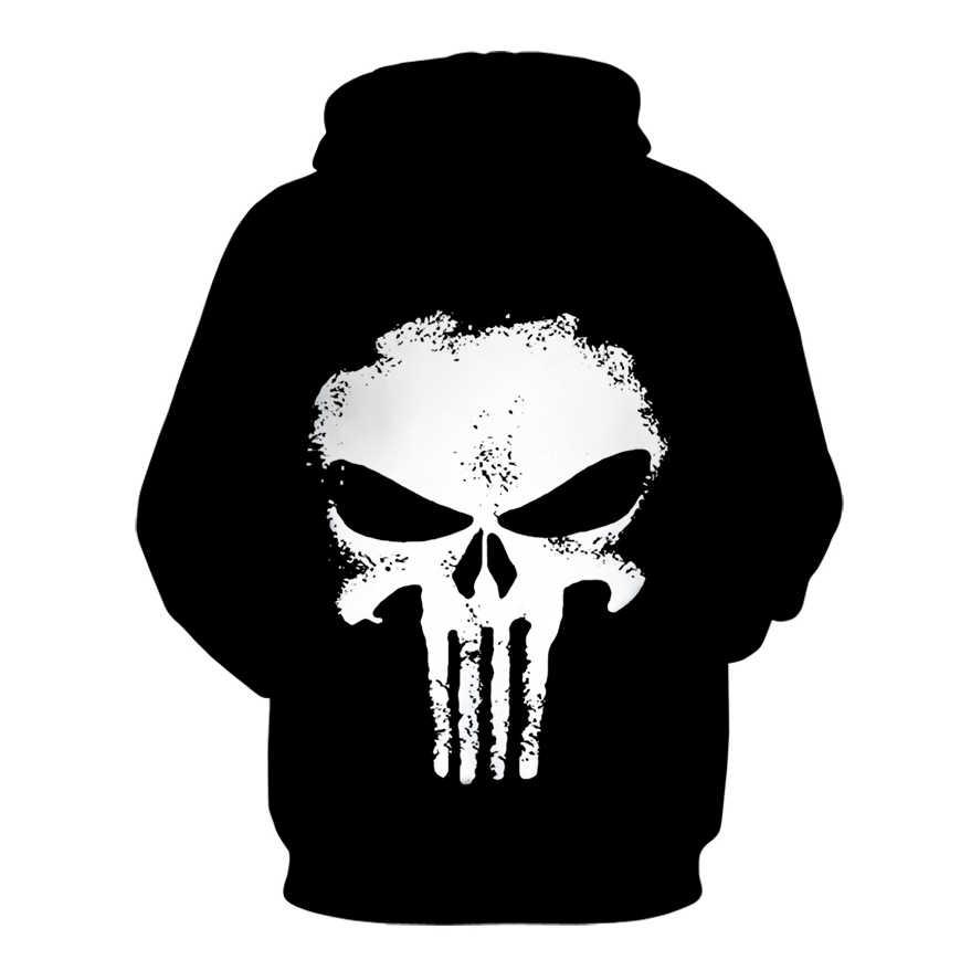 Czaszka karanie 3D bluzy z nadrukiem mężczyźni kobiety bluza rozmiar marka bluza z kapturem czaszka sweter Drop Ship dresy modna bluza z kapturem