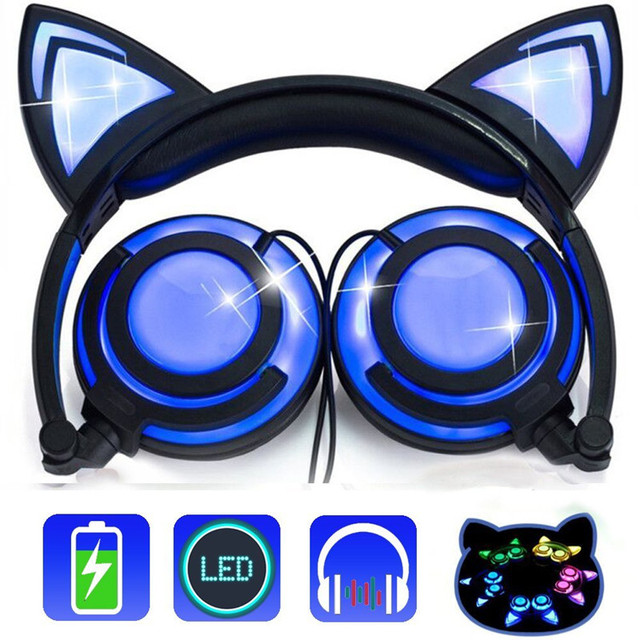 Foldable Flashing Cat Ear headphones ihens5 Glowing LED Light Gaming  Headset Earphone for PC computer Phones Gift for girls kids a5fa080f3002
