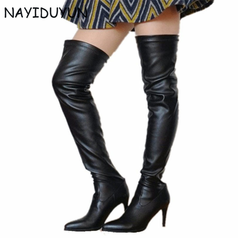 Compare Prices on Thigh High Black Leather Boots- Online Shopping ...