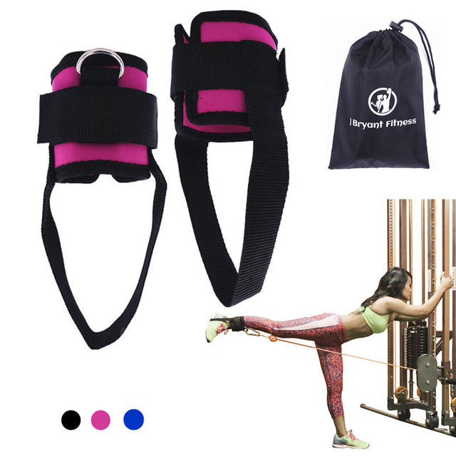 Pair fitness exercise resistance band ankle straps cuff for