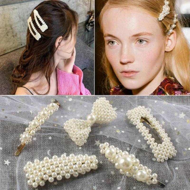 Fashion Alloy White Pearl Hair Clips For Women Lovely Elegant Retro Shining Sweet Priness Simple Temperament Hair Accessories
