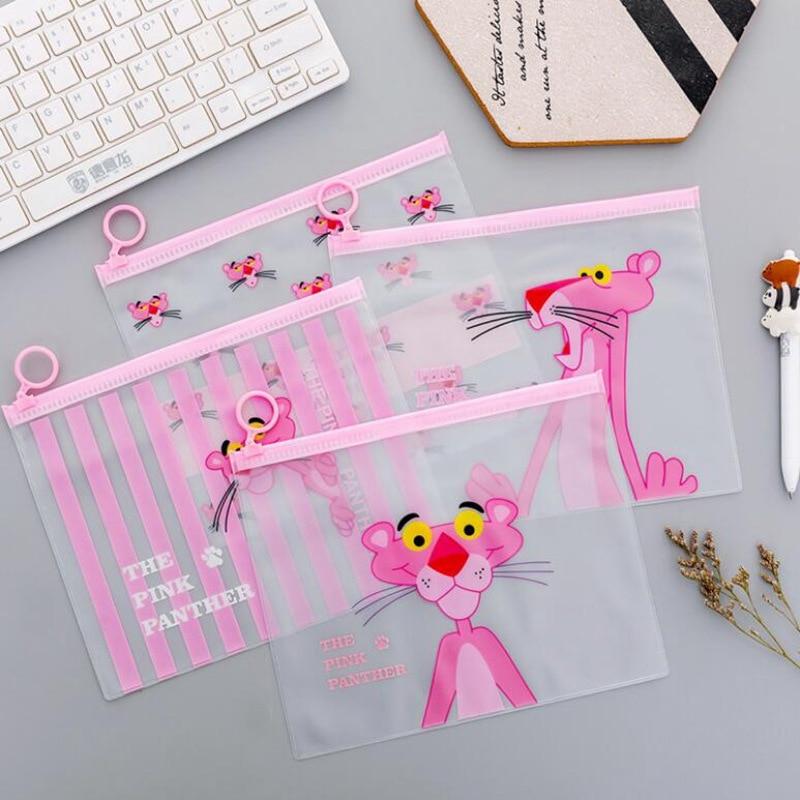 Pink Cute Panther Transparent Travel Cosmetic Bag  Make Up Case Waterproof Makeup Beauty Wash Organizer Toiletry Storage Kit Box