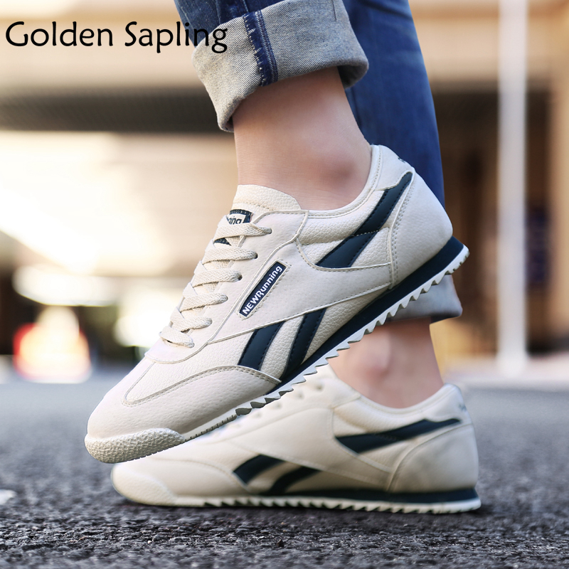 Golden Sapling Man Sneakers Breathable Leather Running Shoes Men Sneakers Flexible Rubber New Run Trainers Male Sport Shoes Men