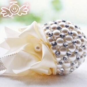 Image 2 - Kyunovia 4 צבע אלגנטי פרל פרח מיני חתונה זרי כלה זר זר הכלה שושבינה כלה קריסטל Sparkle FW74