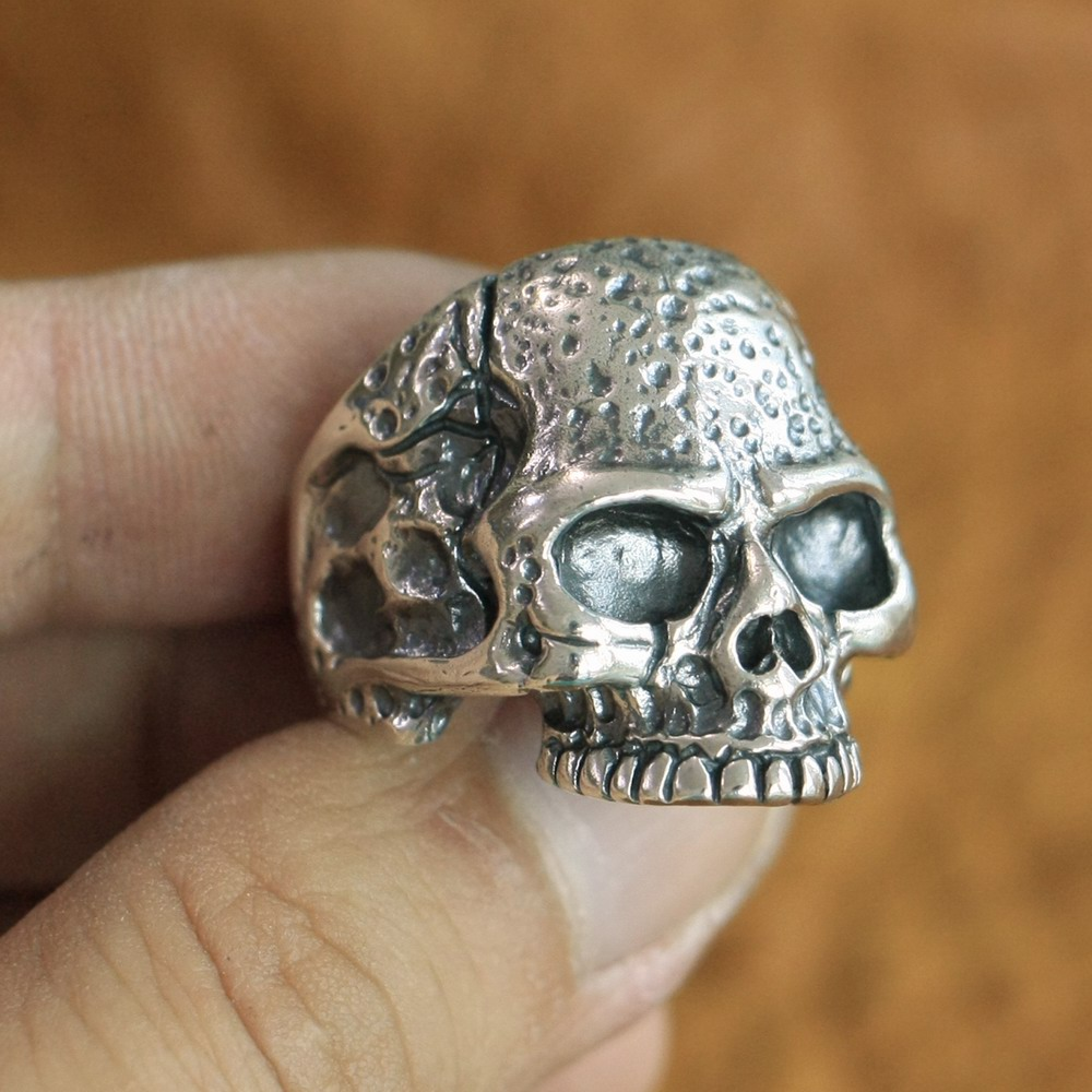 925 Sterling Silver High Details Skull Ring Mens Biker Punk Ring TA118A US 7~15 925 sterling silver high details skull ring mens biker punk ring ta118a us 7 15