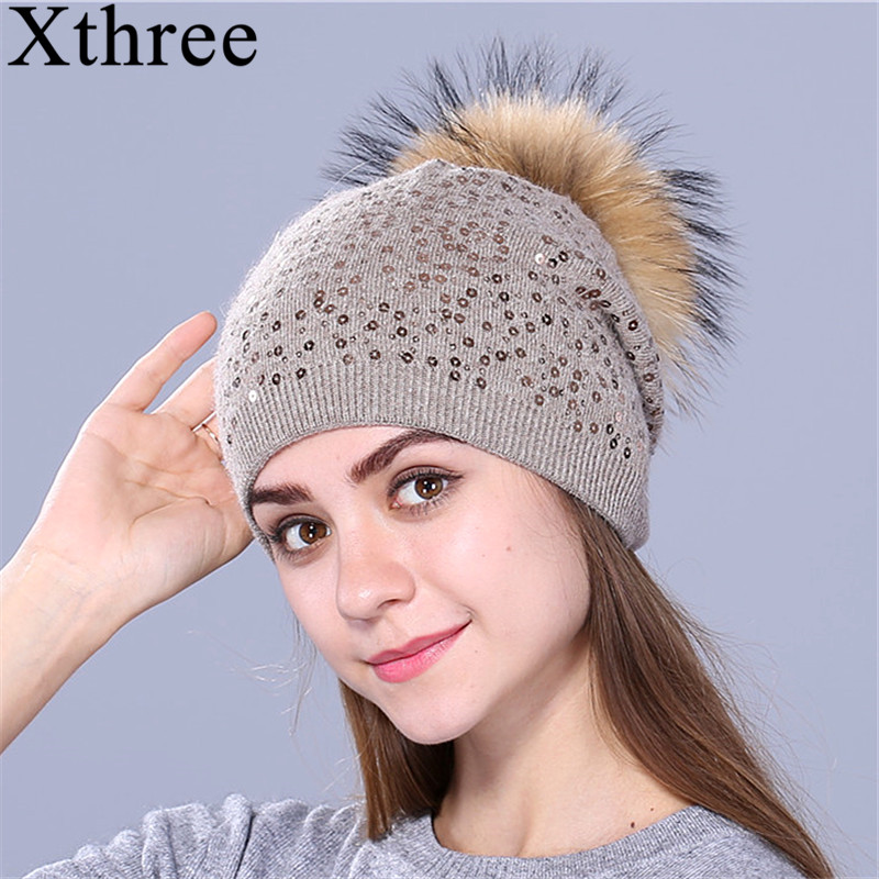 Xthree winter knitting hat for women wool hat beanies 15cm real mink fur pom poms Shiny hat Skullies girls hat цена