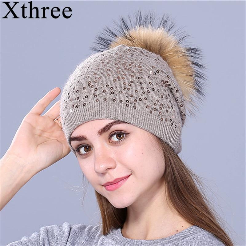 Xthree winter knitting hat for women wool hat beanies 15cm real mink fur pom poms Shiny hat Skullies girls hat цена
