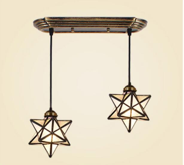 industrial wind glass star pendant lamp pendant light creative dining room simple living room dining aisle bar zcl