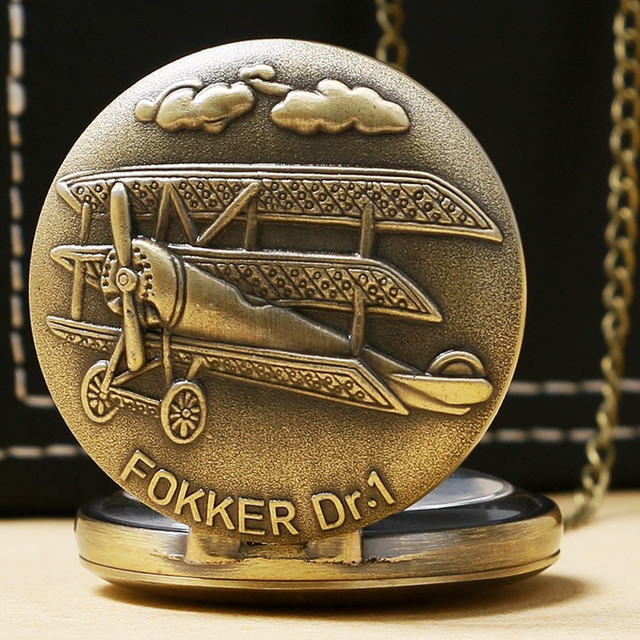 Vintage Bronze Fokker Dr.1 sculpture 3D aircraft Pattern Small Quartz Pocket Wat