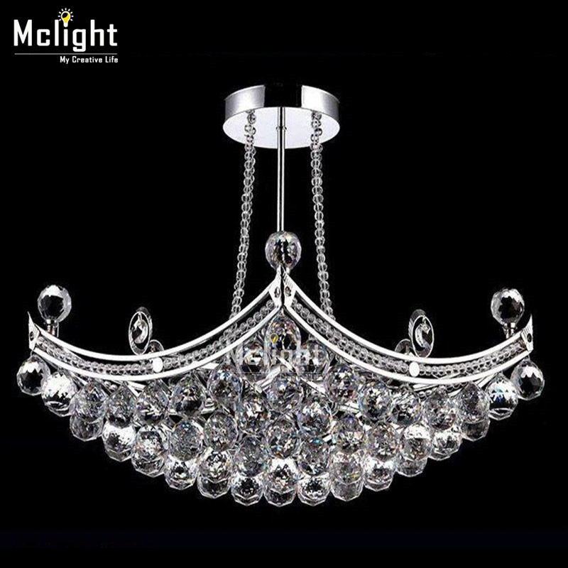 Modern Luxury Fixture K9 Crystal Hanging Wire Ball Pendant Light Ceiling Living Room Chandelier LED Lamp