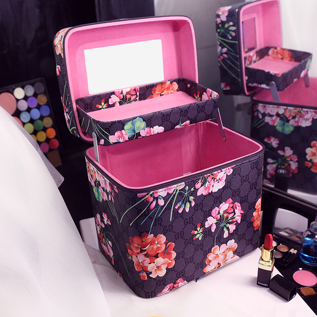 28874d05ae81 New Vintage Printing Cosmetic Bag Large Capacity Portable Toiletry Bag  Women Double Layer Makeup Bags Travel Organizer Storage-in Cosmetic Bags &  ...