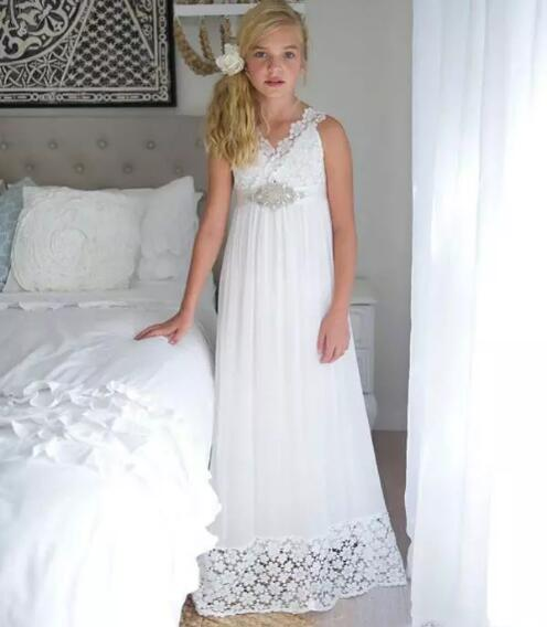 White Ivory Girls Dresses for Wedding with Beaded Sash V Neck Sleeveless Lace Chiffon Flower Girls Dress for Wedding