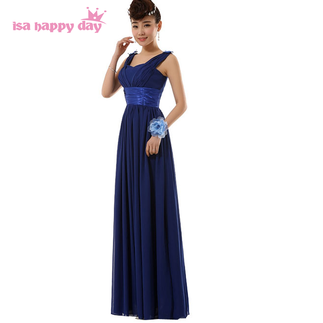 girls aline formal long elegant royal blue prom woman dress occasion spaghetti straps chiffon floor length gown ball party H2696