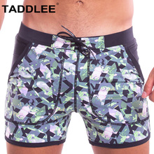 Taddlee Brand Sexy Mens Swimwear Swimsuits Swim Boxer Briefs Board Shorts Men Swimming Long Gay Solid Pockets Surfing Trunks