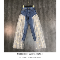 Side Opening Stitching Stars Mesh Sequins Heavy Industry Trend Jeans Women 2019 Spring New Jeans