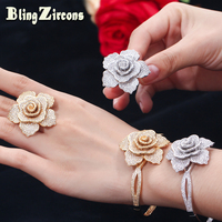 BeaQueen Luxury Big Flower Micro Pave Cubic Zircon Engagement Rings Bangles African Gold Color Wedding Jewelry Sets JS158