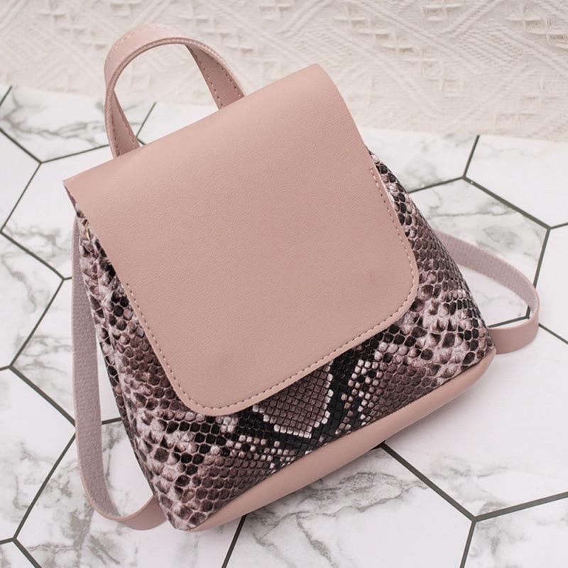Brand 2020 New PU Leather Women Serpentine Multipurpose Satchel Female Shopping Shoulder Bags Ladies Casual Travel Backpacks