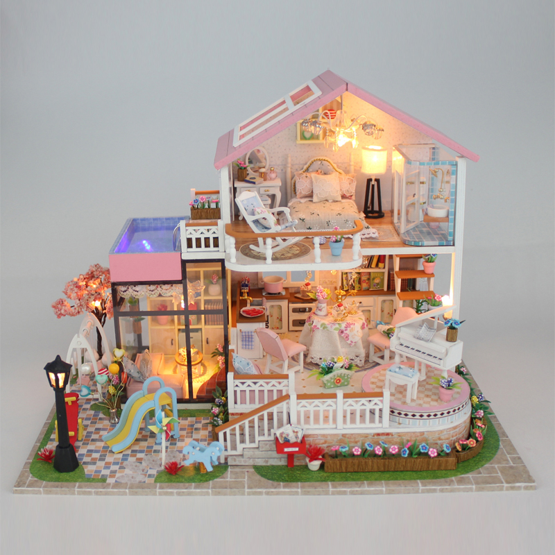 Luxury Sweet Villa Furniture Dollhouse Miniature DIY Kit Remote Control LED Lights Wooden Toy Dolls House Christmas Gift