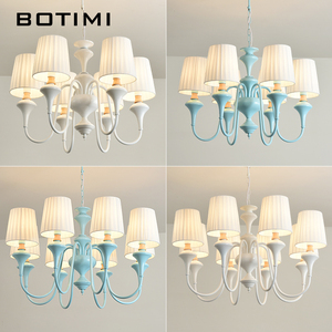 Image 4 - BOTIMI Nordic LED Chandelier With Fabric Lampshade For Living Room Blue Chandeliers Lighting Modern White Hanging Light Bedroom