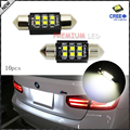 "(10) Xenon White 6-CRE'E 1.50"" 36mm 6418 C5W CANbus LED Bulbs, Error Free For Audi BMW Mercedes Porsche VW License Plate Lights"