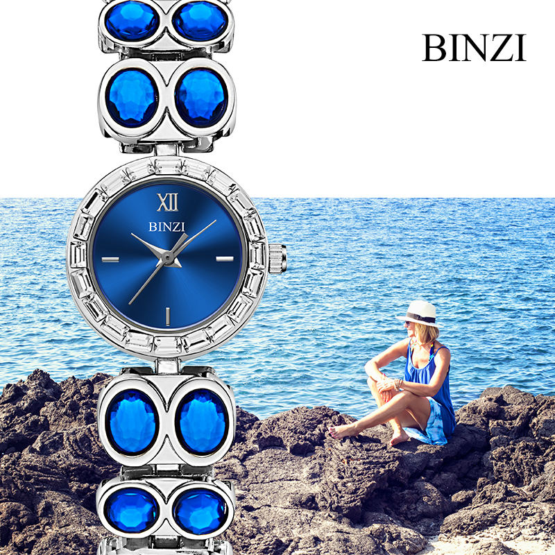 Women Watch BINZI Brand Fashion Luxury Rhinestone Bracelet Watch Ladies Quartz Watch Casual Women Wristwatches Relogio Feminino meibo brand fashion women hollow flower wristwatch luxury leather strap quartz watch relogio feminino drop shipping gift 2012