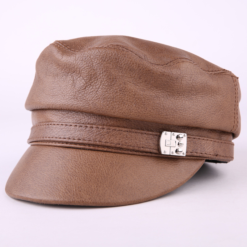 Classic Adult Military Hat Men Fashion Autumn Winter High Quality cowhide leather hats Warm Adjustable Flat Top Cap For Women