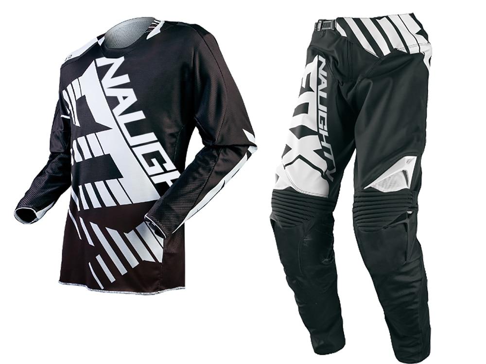 Free Shipping 2018 NAUGHTY MX 360 Black Jersey Pants Combo Motocross Motorbike Dirt Bike Offroad Cycling Racing Gear Set