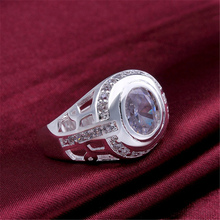 Men's Crystal Inlaid Silver Plated Ring
