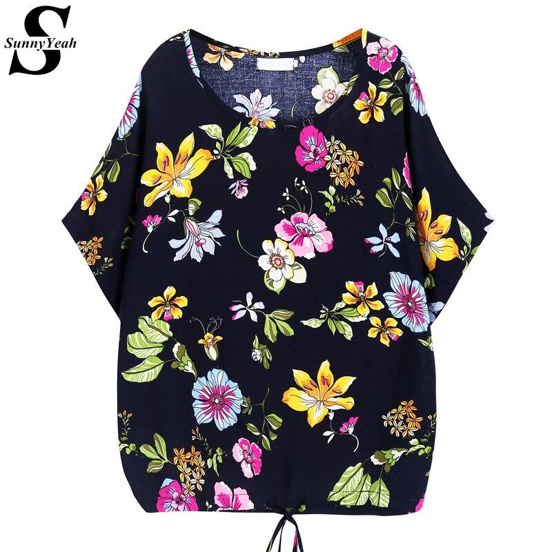 Summer   Blouse   Women Tops Plus Size Ladies Clothes 2019 New Fashion Print Floral Chiffon   Blouses     Shirts   Casual Feminina Blusas