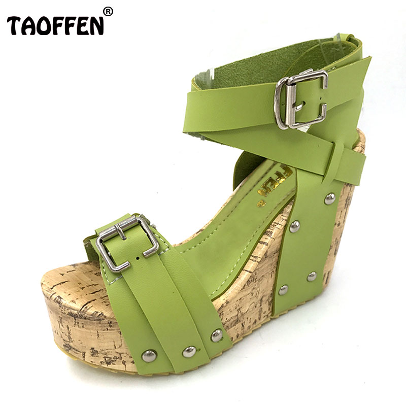 TAOFFEN Free shipping NEW high heel wedge sandals footwear fashion women dress sexy slippers shoes P5850 EUR size 33-40 taoffen free shipping high heel shoes women sexy dress footwear fashion lady female pumps p13165 hot sale eur size 32 43