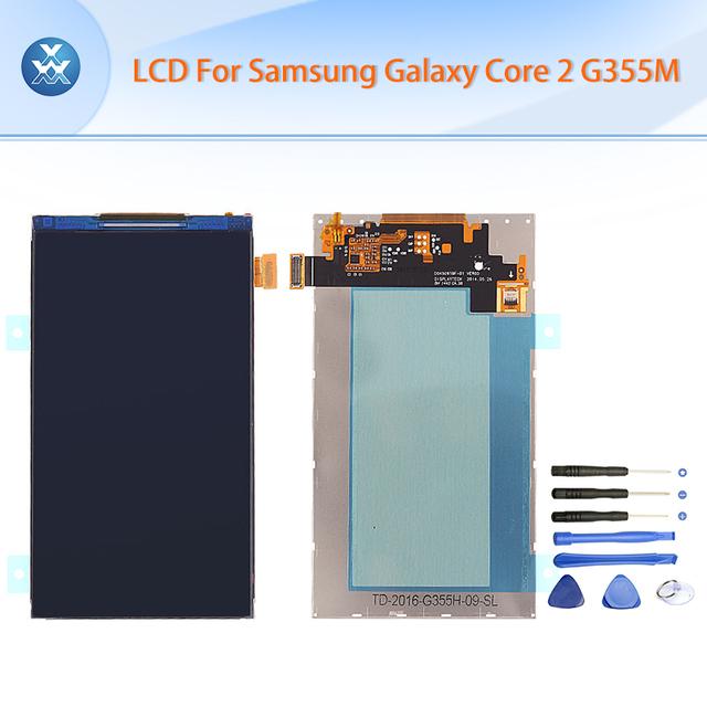 Lcd original para samsung galaxy core 2 g355 g355h sm-g355m pantalla lcd pantalla de visualización de 4.5 pulgadas negro herramientas gratuitas