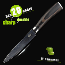 """HAOYE 5"""" inch utility knife damascus chef kitchen knives Japanese quality vg10 steel paring fruit small knife bend handle gift"""