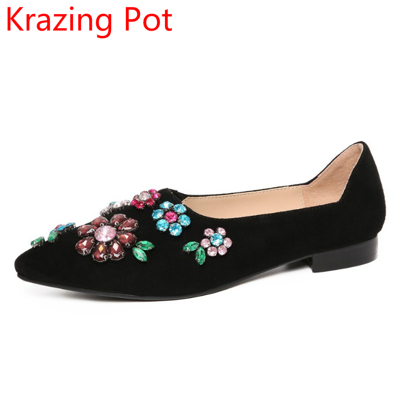 2018 Fashion Brand Autumn Shoes Sheep Suede Shallow Flowers Crystal Diamond Slip on Pumps Round Toe Low Heels Luxury Shoes L64 fashion brand slip on shallow round toe crystal bowtie med diamond thick heels women pumps sweet office lady runway shoes l15