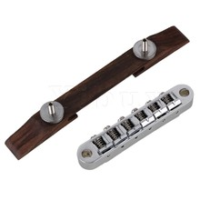 Yibuy Chrome Guitar Bridge Roller Saddle Copper Rosewood for Archtop Jazz Guitar
