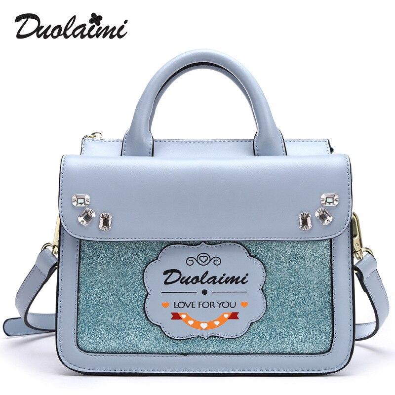 Duolaimi Summer Fashion Casual Pu Leather Women Handbag 2017 New Brand Personality Cartoon Beading Ladies Shoulder Crossbody Bag